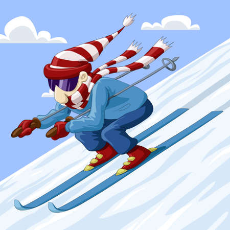 snow ski: Man descends from the mountain on skis Illustration