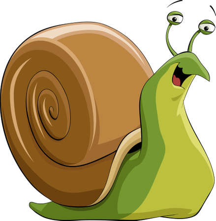 Illustration of a happy green snail Illusztráció