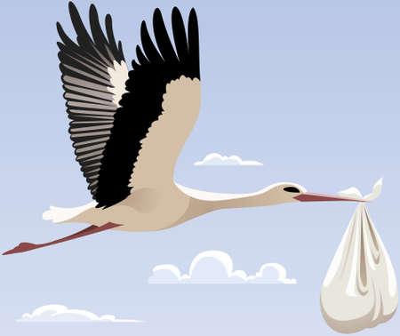 stork flying with bundle: Flying stork with a bundle Illustration