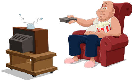 bald: The man in an armchair watches TV