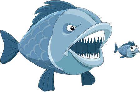 peces caricatura: Pez grande come pescado poco