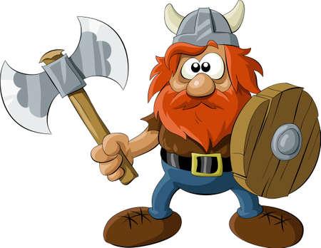 vikingo: Viking con un hacha y un escudo  Vectores