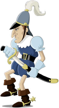 Cartoon the European medieval soldier Vector