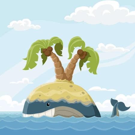 peces caricatura: Ballena con la isla en una copia de seguridad