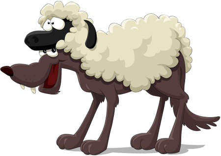 wool sheep: Wolf in the sheep skin Illustration