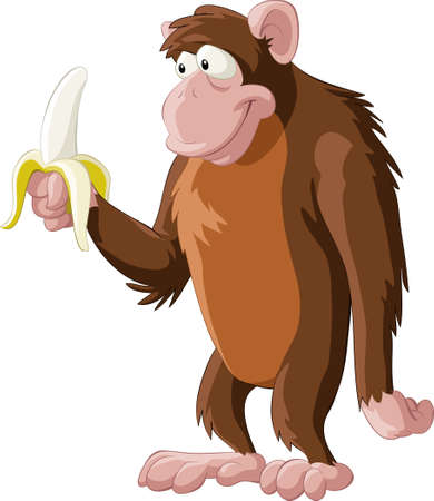 Brown monkey with a banana Vector