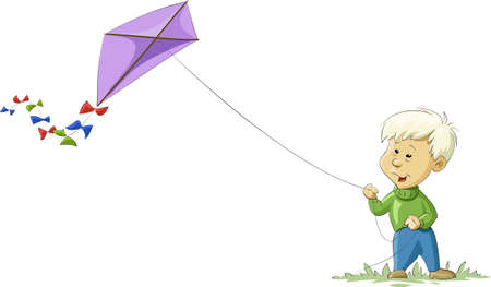 kites: A boy with a kite, vector illustration