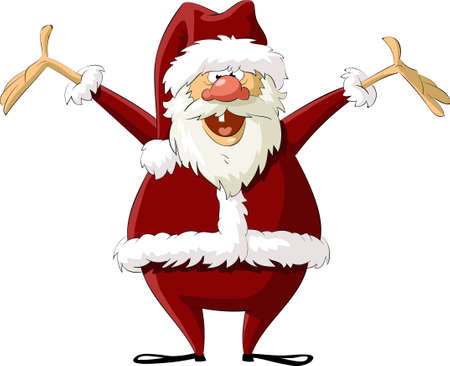 happy new year cartoon: Santa on a white background, vector illustration