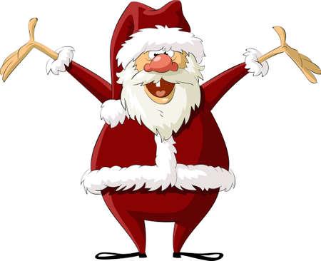 Santa on a white background, vector illustration
