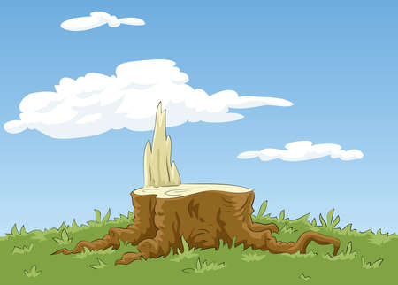 Background with a stump and grass, vector Vector