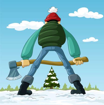 leñador: Leñador con un hacha y un árbol de Navidad, el vector