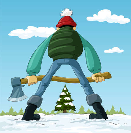 Lumberjack with an ax and a Christmas tree, vector Illustration