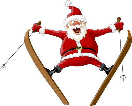 Santa Claus on skis in the jump