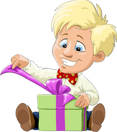 A child opens a gift,  illustration Vector