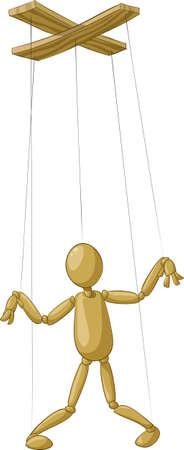 dřevěný: Wooden puppet on white background,  illustration