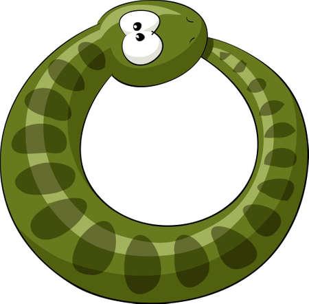 serpiente caricatura: La serpiente muerde su propia cola  Vectores