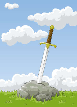 sticking: Sword sticking out of the stone  Illustration