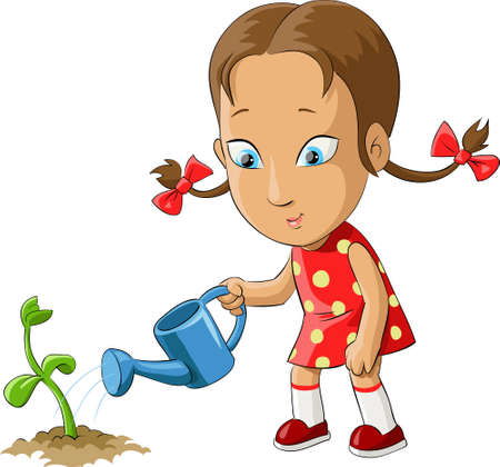 watering of plants: Girl watering a plant from watering can  Illustration