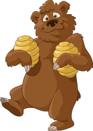 osito caricatura: Tener con miel sobre un fondo blanco