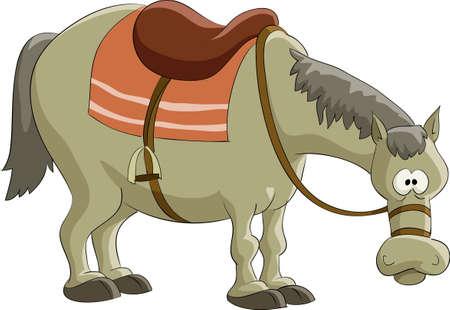 horse saddle: Cavallo di cartone animato su sfondo bianco, illustrazione