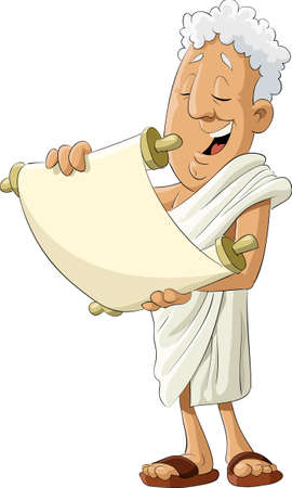 cartoon reading: Ancient greek reads the scroll, illustration Illustration