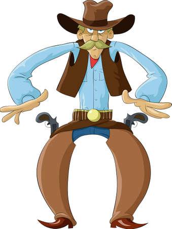 Cowboy klaar voor een shootout  Vector Illustratie