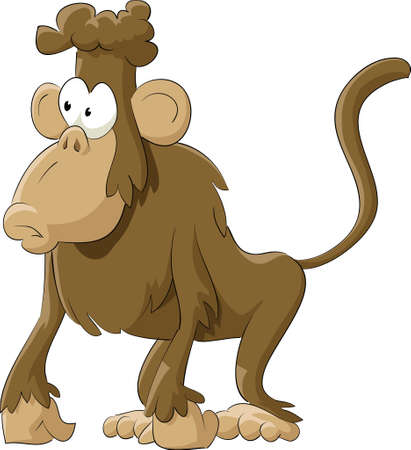Monkey on a white background, illustration Vector
