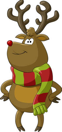 Cartoon deer with a scarf,  illustration Vector