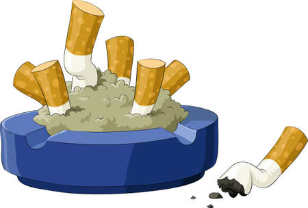 Un cendrier avec les mégots de cigarettes