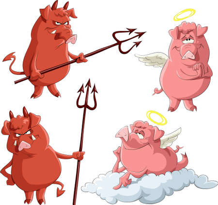 Cartoon piglets Angels and Demons Vector