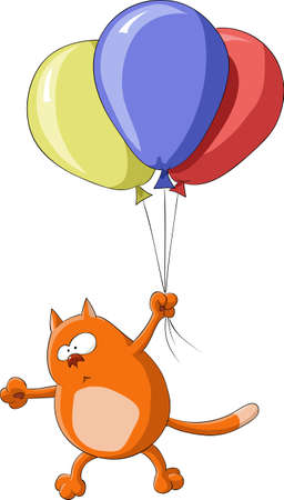 Cat flies to colored balloons, vector illustration Vector