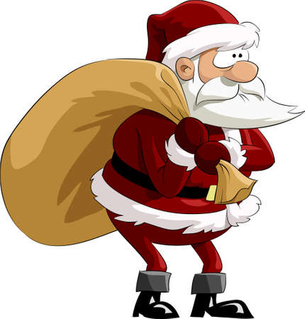 sacks: Santa Claus with a bag, vector illustration Illustration