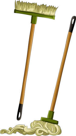 broom: Mop and broom on a white background, vector