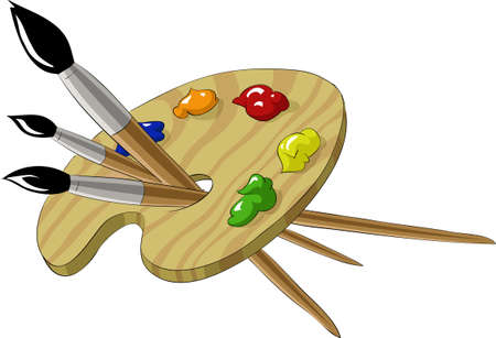 art palette: Artistic palette with three tassels, vector illustration