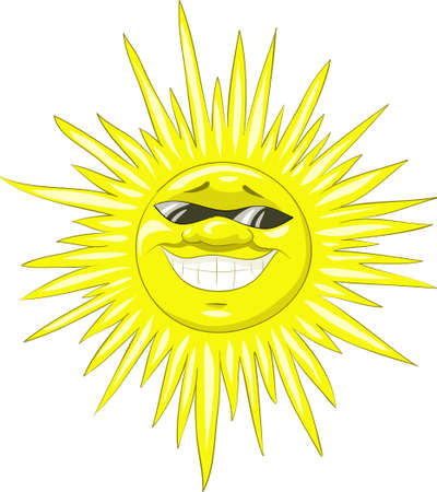 A smiling sun wearing sunglasses, vector illustration Vector