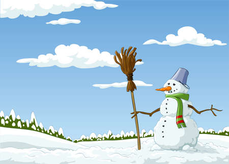 Winter landscape with a snowman, vector illustration