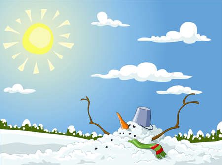 Winter landscape with melted snowman, vector illustration Ilustrace