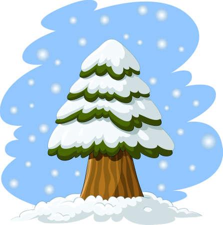 spruce: Cartoon spruce in the snow, vector illustration Illustration