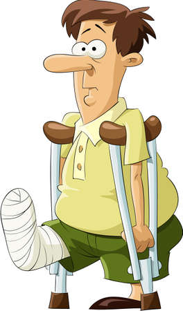 casts: A man with a bandaged leg  Illustration