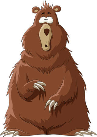 cartoon bear: Surprised by a brown bear, illustration