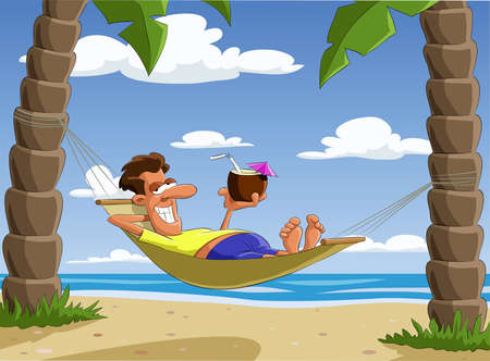 Man lying on a hammock,  illustration Vector