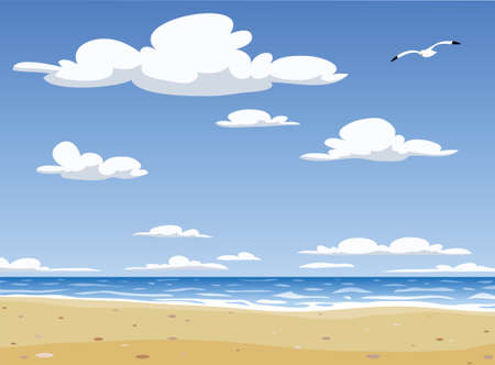 The landscape of Sunny Beach,  illustration Vector