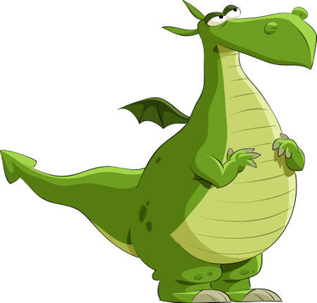 green dragon: Dragon on a white background, illustration