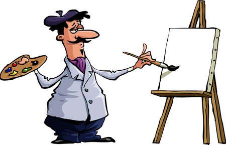 Kunstenaar op een witte achtergrond  Vector Illustratie