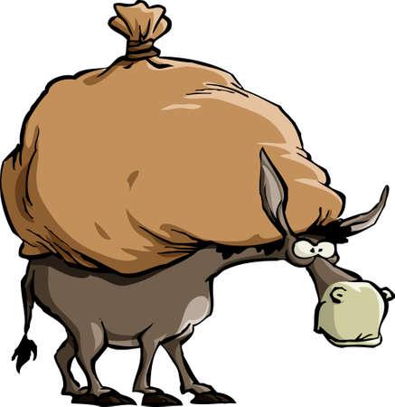 donkey: De ezel draagt een grote zak  Stock Illustratie