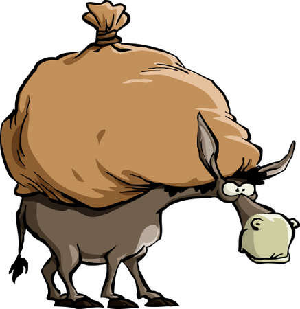 burden: The donkey carries a large bag  Illustration