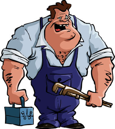 plumber tools: Plumber on a white background