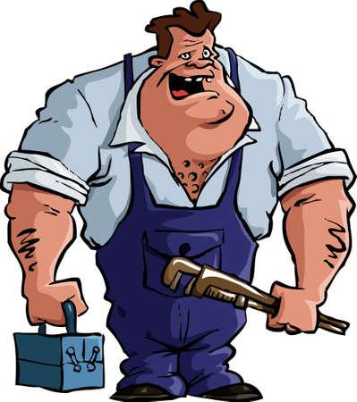 mechanic cartoon: Plumber on a white background