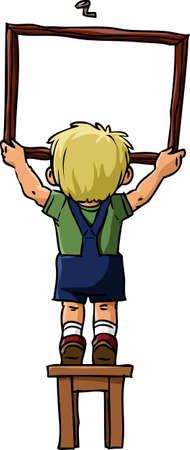 Boy hangs a picture on the nail, vector Stock Vector - 8848065