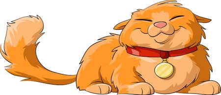 cartoon poes: Happy kat op een witte achtergrond, vector Stock Illustratie